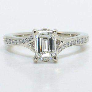 IGI-1 Ct Emerald Lab Grown Diamond Engagement Ring